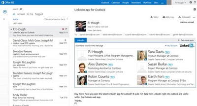 OWA in Exchange 2013 Screenshot of the LinkedIn App