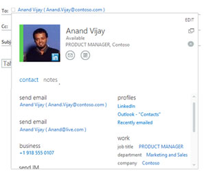 Owa and Exchange 2013 All information about a person from contacts, Global Address List and LinkedIn in one place