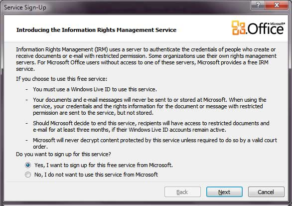 Screenshot of step three of the Microsoft Information Rights Management Service