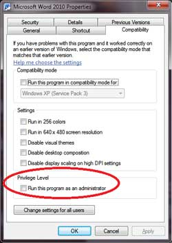 Image of the Microsoft Windows 7 Compatibility Mode Dialog