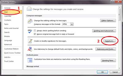 Screenshot 1 of adding a signature to Outlook 2010